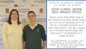 Nuestro alumno, César Climent, ha obtenido la Beca Amancio Ortega que le permitirá cursar 1º de Bachillerato en EE.UU.