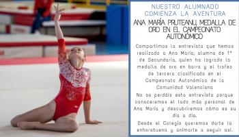 Nuestra alumna, Ana María Pruteanu, logra la medalla de oro en barra y trofeo de tercera clasificada en el Campeonato Autonómico de la Comunidad Valenciana
