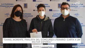 """Nuestro alumno, Daniel Morente, finalista del concurso literario: """"Carta a un militar español"""""""