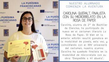 Nuestra alumna, Carolina Queralt, finalista con su microrrelato en la Rosa de Paper