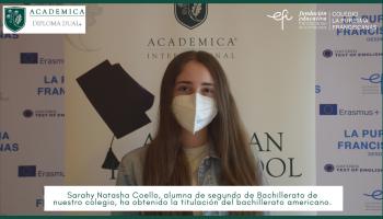Sarahy Natasha Coello, alumna  de segundo de Bachillerato de nuestro colegio, ha obtenido la titulación del bachillerato americano